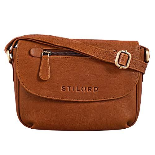 STILORD 'Tamara' Kleine Handtasche Damen Leder Braun Umhängetasche Vintage für Frauen zum Ausgehen Abendtasche Partytasche Elegante Echtleder Tasche, Farbe:Texas - braun
