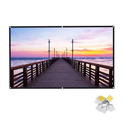 Pantalla de proyector portátil para cine en casa Espesar pantalla plegable blanca 16:9 HD 4K pantalla para proyección de pared en interiores (60 pulgadas)