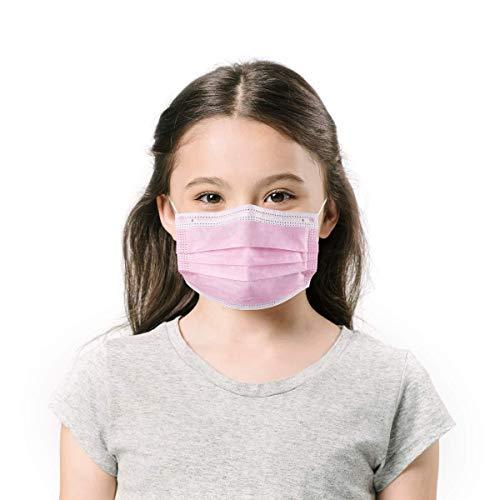 Gually-50 Piece Bambino 3 Strati di Protezione per Il Viso con Passanti per Le Orecchie, Protezione della respirazione a Prova di Polvere USA e Getta, Rosa Attrezzatura Antipolvere Esterna