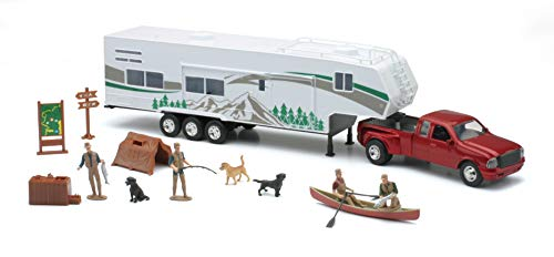 New-Ray Toys Die Cast Pick Up Truck with Camper Trailer and Accessories
