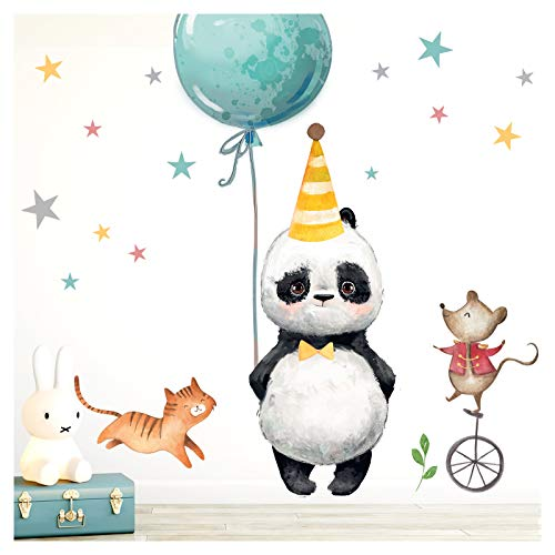 Little Deco Pegatina Panda Gato Ratón & Estrellas I M - 102 x 74 cm (WxH) I Globo Fiesta Sombrero Pared Cuadros Pared Tatuaje Cuarto Niños Animales Deco Baby Room DL198