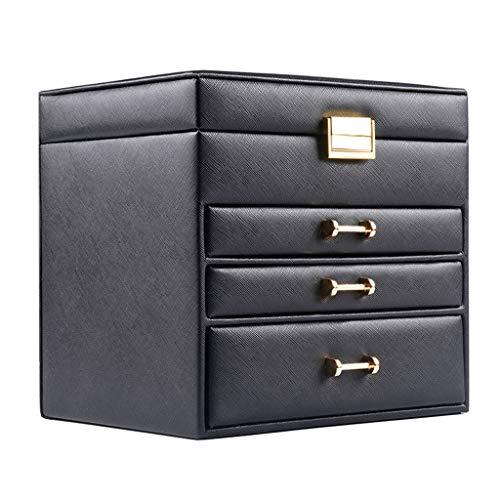 YYDS Capa 4 del cajón de la joyería Caja de almacenaje del Organizador del sostenedor de la exhibición de la joyería joyero de Cuero de la PU de la Pulsera del Collar del Pendiente del Anillo, Negro