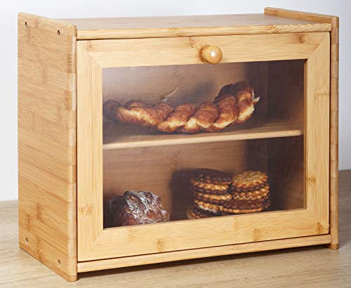 Bamboo 2 tier Bread Box- Kitchen Food Storage Bin Countertop Shelf, Space Saving Wooden Large Capacity Bread Keeper,Tea Box Countertop Organizer Roll Top with Removable Layer
