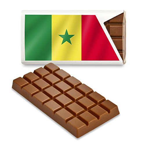 12 kleine Tafeln Schokolade - Fanartikel Süßigkeiten - Große Auswahl Länder, Nationen, Fahnen - Vollmilch (Senegal)