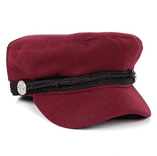WAZHX Moda Mujer Hombre Algodón Estilo Casual Cuerdas Botón con Bisagras Gorra De Golf Elegante Retro Adorno De Metal Sombrero Boinas Sombrero Francés Rojo