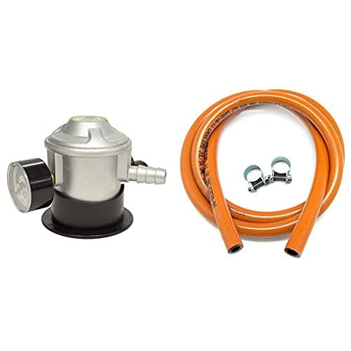S&M Regulador Butano con Manómetro, Gris + 321535 Kit Tubería homologada de Gas Butano de 1,5 Metros-Ø 9mm con Abrazaderas con pestaña, Naranja