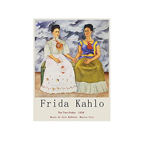 VUSMH Frida Kahlo Works Arte de Pared Autorretrato en Lienzo de Terciopelo Pintura Museo de Arte Moderno Exposición Póster Salon de Estar Decoracion de la Pared 60x80cmx1 Sin Marco