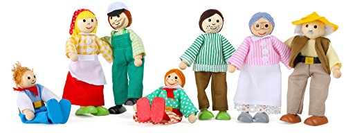"small foot 10046 Bending dolls ""Farmer's Family"" made of wood and fabric, a family of 7 dolls, ideal for dollhouses, from 3 years old"