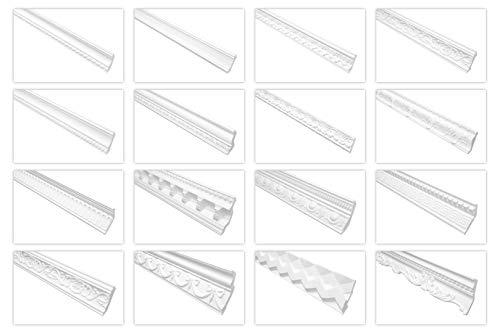 Marbet Deckenleisten weiß, 2 Meter aus Styropor EPS - Stuckleisten gemustert, im traditionellen Design - (B-19) Winkelprofile Wandprofile Eckleisten