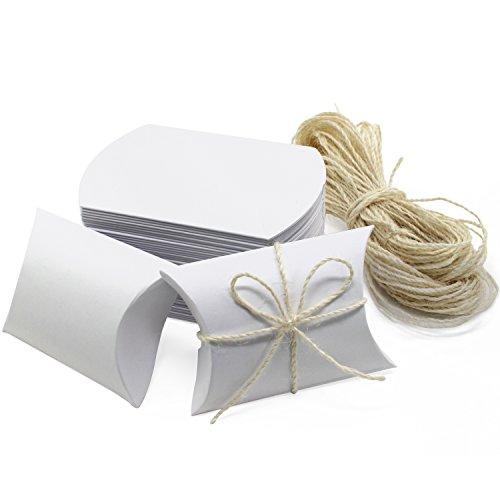 HSeaMall 50PCS Kissen Box Kraftpapier Pralinenschachtel Geschenkbox für Hochzeit Geburtstag Party Weiß 50 Stück
