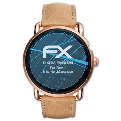 atFoliX Schutzfolie kompatibel mit Fossil Q Wander 2.Generation Folie, ultraklare FX Displayschutzfolie (3X)