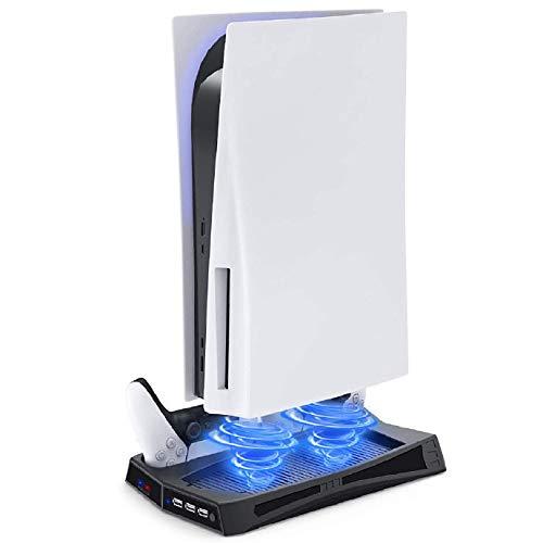 TPFOON Vertikaler Stander Ladestation für PS5 Controller, Lüfter Kühler standfuß mit Type C Ports, PS5 Controller Ladesation für Playstation 5 DE/UHD