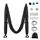 CO-Z Aerial Yoga Swing Sling Strong Yoga Hammock Kit Set Trapeze Inversion Exercises Include Ceiling Mounting Kit and 2 Extensions Straps (Black)