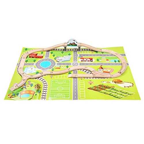 LKW-Spielzeug-Set Bahngleis Holzspielzeug Set Holzbahn Flexible Track Car Set Baukasten Spielzeug Für Kinder Alter Alter 3 Jahre Alt Plus Kinder-LKW-Spielzeug-Set ( Farbe : Grün , Size : 102x72cm )