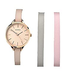 Rose gold plated case Matte rose dial with batons Interchangeable nude leather strap Two additional leather straps in grey and pink 2 year guarantee