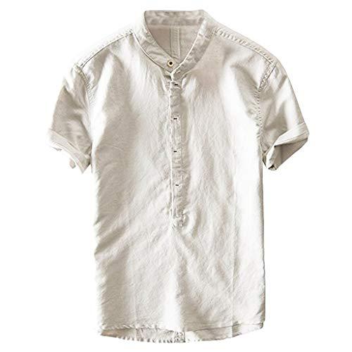 TEBAISE Freizeithemden Leinenhemd Herren Casual Kurzarm Henley Shirt V-Ausschnitt Daily Leinenhemden Freizeit Stehkragen Leinen und Baumwolle Bluse 2019 Sommer Button Down Tops Vatertags