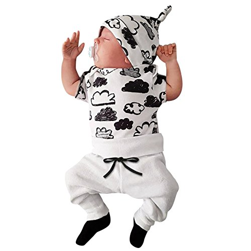 Vovotrade®3PC Nouveau-né Infantile Bébé Fille Garçon Baby Girl Boy Cloud Print T-Shirt Tops + Pantalon Tenues Vêtements Ensemble Outfits Clothes + Chapeau (White-Short, 18M)