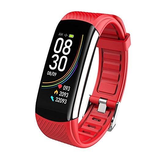 JIAJBG Fashionc6T Reloj de pulsera inteligente de temperatura corporal IP67 impermeable monitor de ritmo cardíaco Smartband pulsera Fitness Health Tracker ser diferente/rojo
