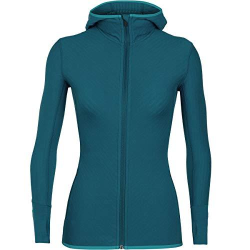 Ice Breaker Damen Women's Descender Long Sleeve Zip Hood Schnee-Skibekleidung, Kingfish/Arctic Teal, Größe S