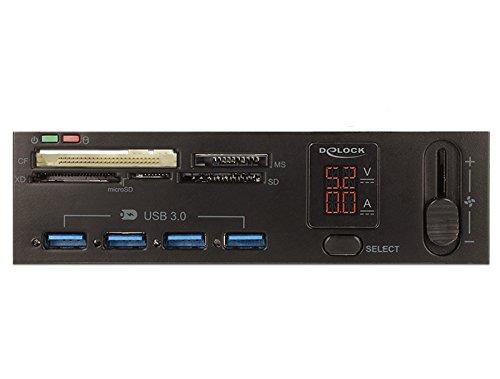 DeLock 5.25 USB 3.0 Card Reader 5 Slot + 4 Port USB 3.0 Hub inkl. V/A Anzeige und Lüftersteuerung