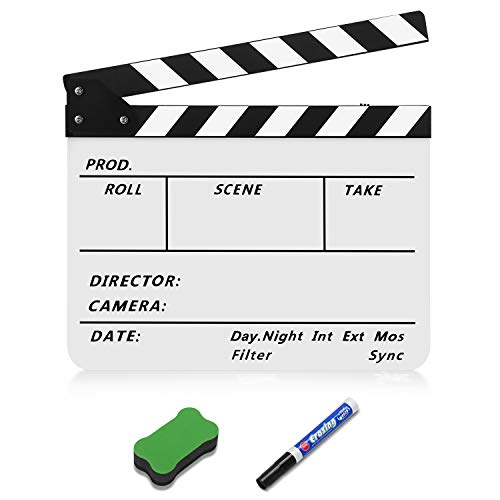 Flexzion Director Clapboard Film Movie Clapper Board Acrylic Plastic Dry Erase Stadio Camera TV Video Cut Action Scene Slate Board 10x12' with Black/White Sticks