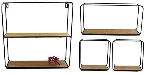 Metall Wandregal 4er Set - Regale in 3 unterschiedlichen Größen - Design Hängeregal Bad Regal Küchenregal