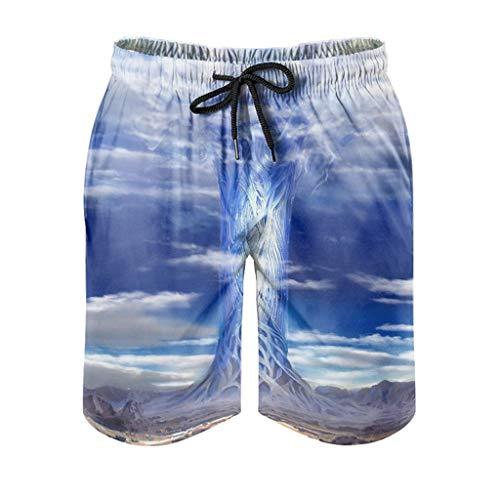 kikomia Yggdrasil - Bañador para hombre, diseño vikingo, color azul, diseño del árbol de la vida, corte ajustado, con bolsillos, color blanco, XL