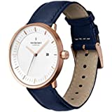 Nordgreen Philosopher Scandinavian Rose Gold Unisex Analog 36mm Watch with Navy Leather Strap 10067