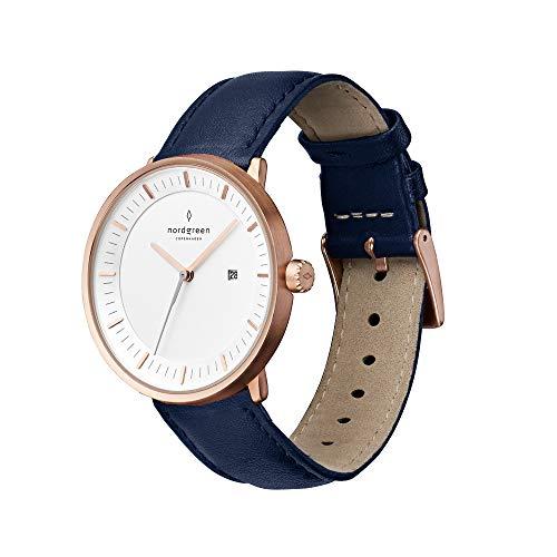 Nordgreen Philosopher skandinavische Uhr in Roségold mit weißem Ziffernblatt und austauschbarem 36mm Leder Armband Navy Blau 10082
