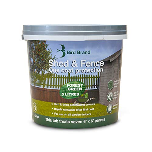 Bird Brand, Shed & Fence 1 Coat Protection - Garden Paint for Wood - Shed and Fence Paint - Forest Green Colour, 5-Litre Bucket