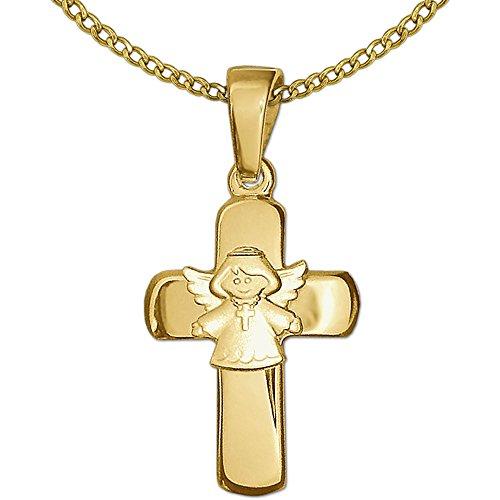 Clever Schmuck SET Goldener Anhänger Kreuz 15 mm glänzend mit aufgesetztem Kinderengel Kreuzkette tragend seidenmatt und Kette Weitpanzer 40 cm glänzend beides 333 GOLD 8 KARAT für Kinder im Etui