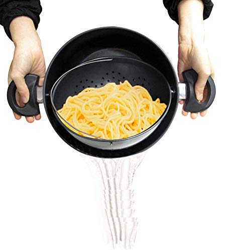TV Cooking Pot Strainer Basket Always Stays Upright,3.5L-6L,Large Induction Pan with Non-Slip Stay Handles,3 Set,6L
