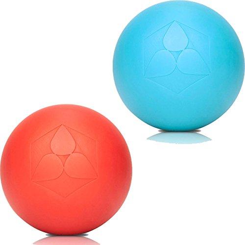2x Lacrosse Bälle »Lio« (6cm Durchmesser) in vielen Farbkombination zur Massage von Triggerpunkten. Idealer Massageball / Massagerolle zur punktuellen Behandlung von Verspannung türkis / rot