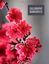 Calligraphy worksheets: Blank practice sheets book with slanted grid paper: Deep pink and neutral floral cover design