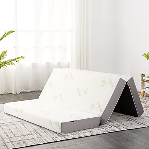 Queen Folding Mattress, Inofia 4-Inch Tri-fold Mattress with Memory Foam, Ultra Soft Bamboo Cover, Non-Slip Bottom, and Breathable Mesh Sides, Mattress Topper - Queen Size