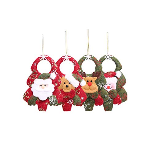 Wohlstand 4Pcs di Natale Appeso Decorazioni, Decorazioni addobbi Natalizi,Santa, Pupazzo di Neve, Renne