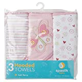 Spasilk Baby 3 Pack Soft Terry Hooded Towel Set for Newborn Boys and Girls