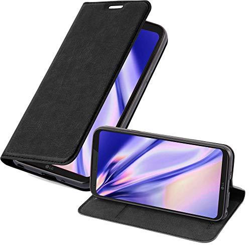 Cadorabo Hülle für LG Q6 in Nacht SCHWARZ - Handyhülle mit Magnetverschluss, Standfunktion & Kartenfach - Hülle Cover Schutzhülle Etui Tasche Book Klapp Style