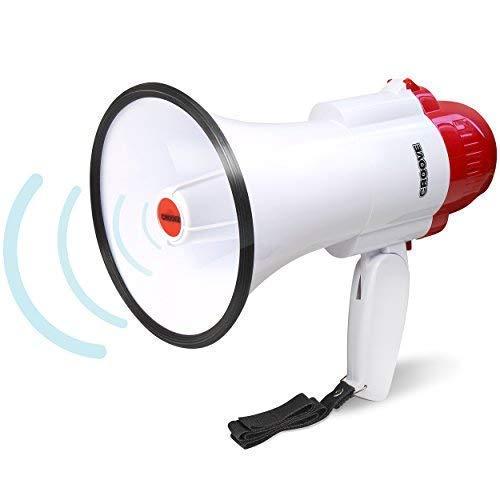 Croove Portable 30 Watt Bullhorn/Megaphone with Siren & Cheering - 800 Yard Range - Powerful and Lightweight