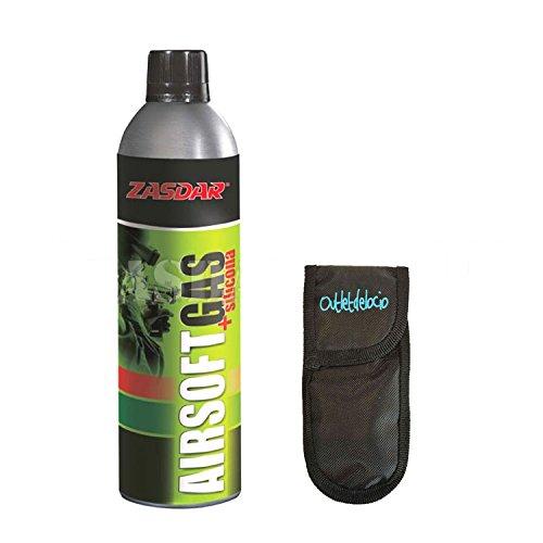Outletdelocio. Botella Gas + Siliconas de 750 ml para Pistolas de Airsoft Que Funcionan por Gas + Funda Portabalines. 16240/23054