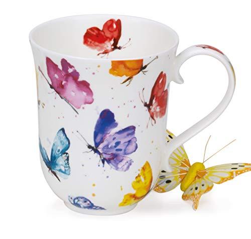 Dunoon Tasse aus feinem Porzellan, hergestellt in England, spülmaschinenfest, 330 ml, Braemar-Form, Knochenporzellan, Flight of Fancy