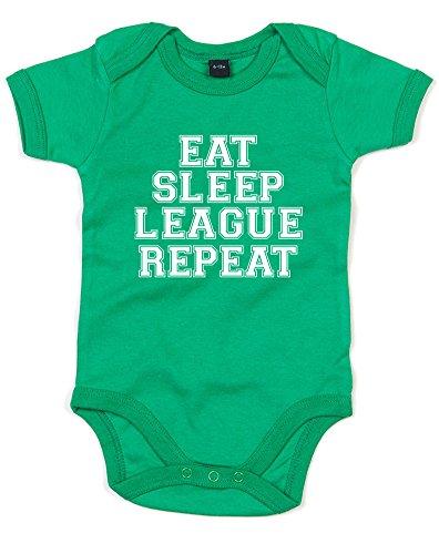 Eat Sleep League Repeat, Imprimé bébé Grandir - Kelly Green/White 6-12 Months