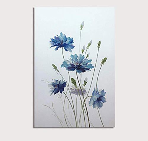 WunM Studio olieverfschilderij op canvas handgeschilderd, abstracte planten landschap schilderen, blauwe bloemen en knopen, grote moderne muur decoratie voor huis woonkamer slaapkamer kantoor hotel cafe 100×150 cm