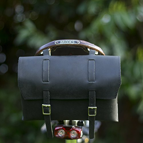 Fantastic Prices! LondonCraftwork Large Bicycle Bag Saddle/Handlebar/Frame Bag in Black Leather Clas...