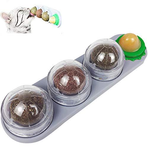 Elehui Palline di Erba Gatta Catnip Ball Rotante Giocattolo interattivo per con Palla di Caramelle Girevole 4-in-1 per Gatti Gattino Pulizia Denti Mantiene la Bocca Fresca e l'intestino Sano (Grigio)