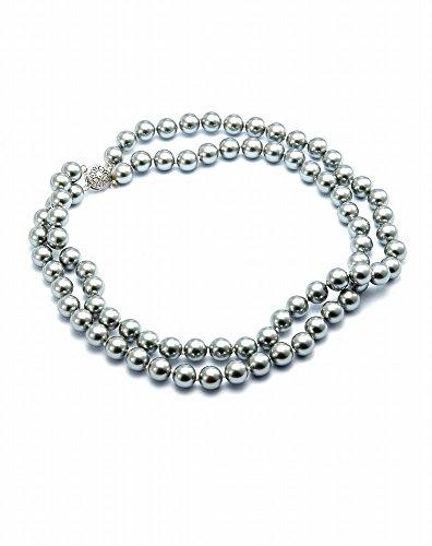 Schmuckwilli Damen Perlenkette 2-Reihig Grau Muschelkernperlenkette echte Muschel 45cm dmk1022 (10mm)
