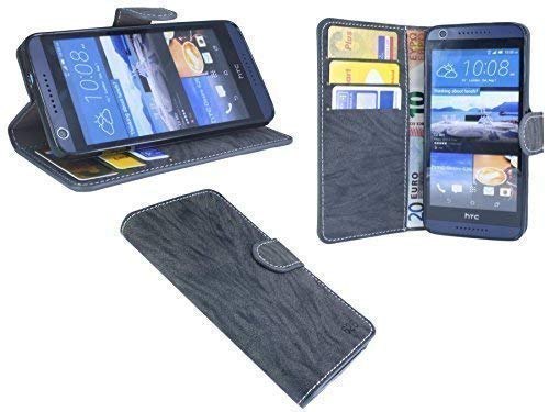 ENERGMiX Buchtasche kompatibel mit HTC Desire 626G Hülle Case Tasche Wallet BookStyle mit Standfunktion Anthrazit