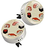 Diffusore di oli essenziali per aromaterapia per auto per sushi giapponese, con clip di sfiato, 4 ricariche