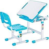 VIVO Blue Height Adjustable Childrens Desk and Chair Set | Kids Interactive Workstation