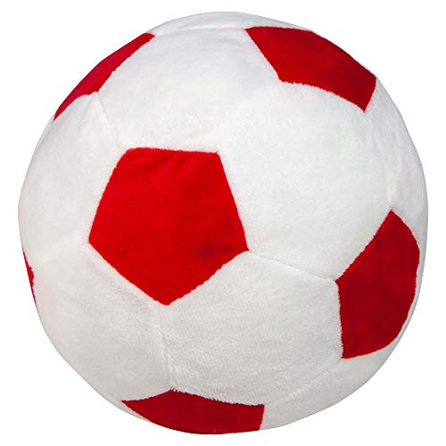 James and Steel Plush Berber Football with Squeaker Dog Toy 23cm